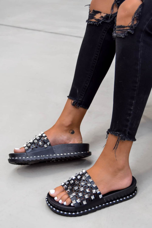 SAID IT Chunky Studded Sliders - Black/Silver