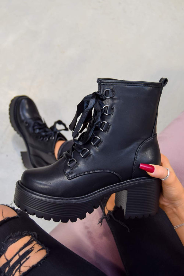 SAY IT Chunky Platform Military Ankle Boots - Black PU