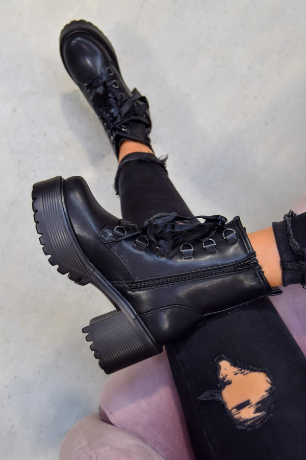 SAY IT Chunky Platform Military Ankle Boots - Black PU -1