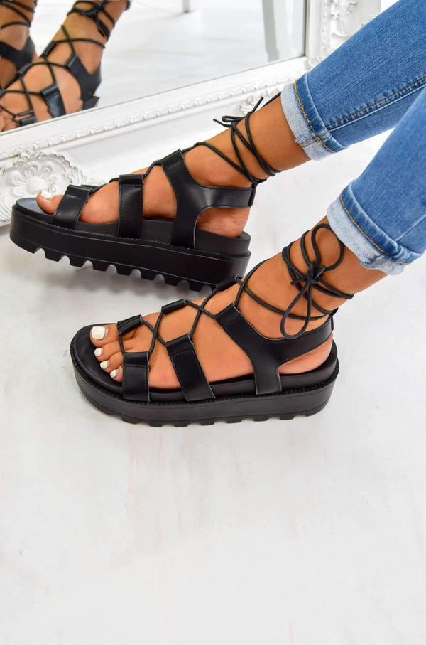 SAY SO Chunky Platform Tie Up Gladiator Sandals - Black - 1