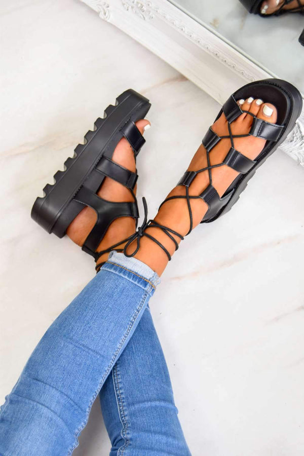 SAY SO Chunky Platform Tie Up Gladiator Sandals - Black