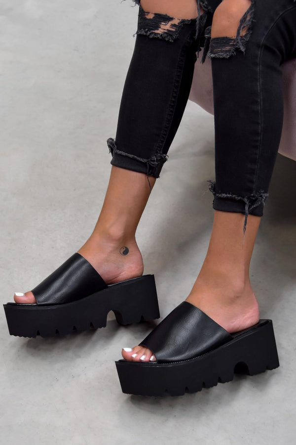 SELINA Chunky Sole Sliders - Black - 1