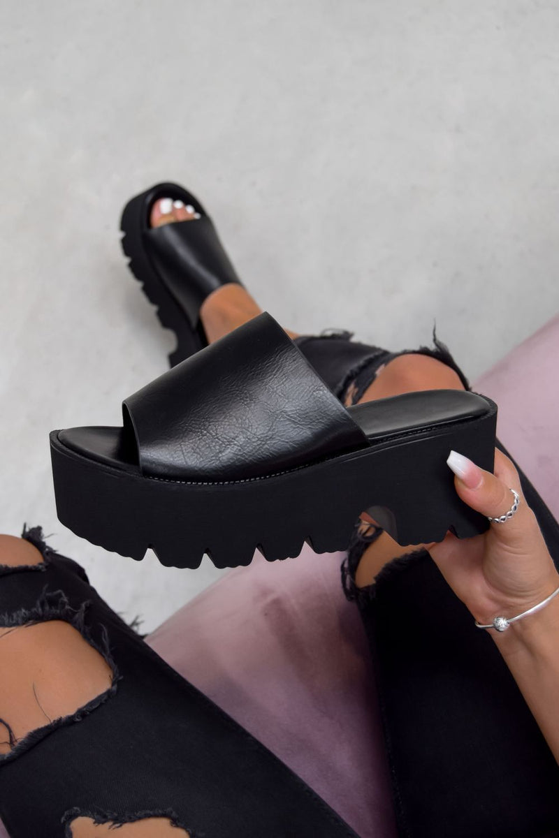 SELINA Chunky Sole Sliders - Black