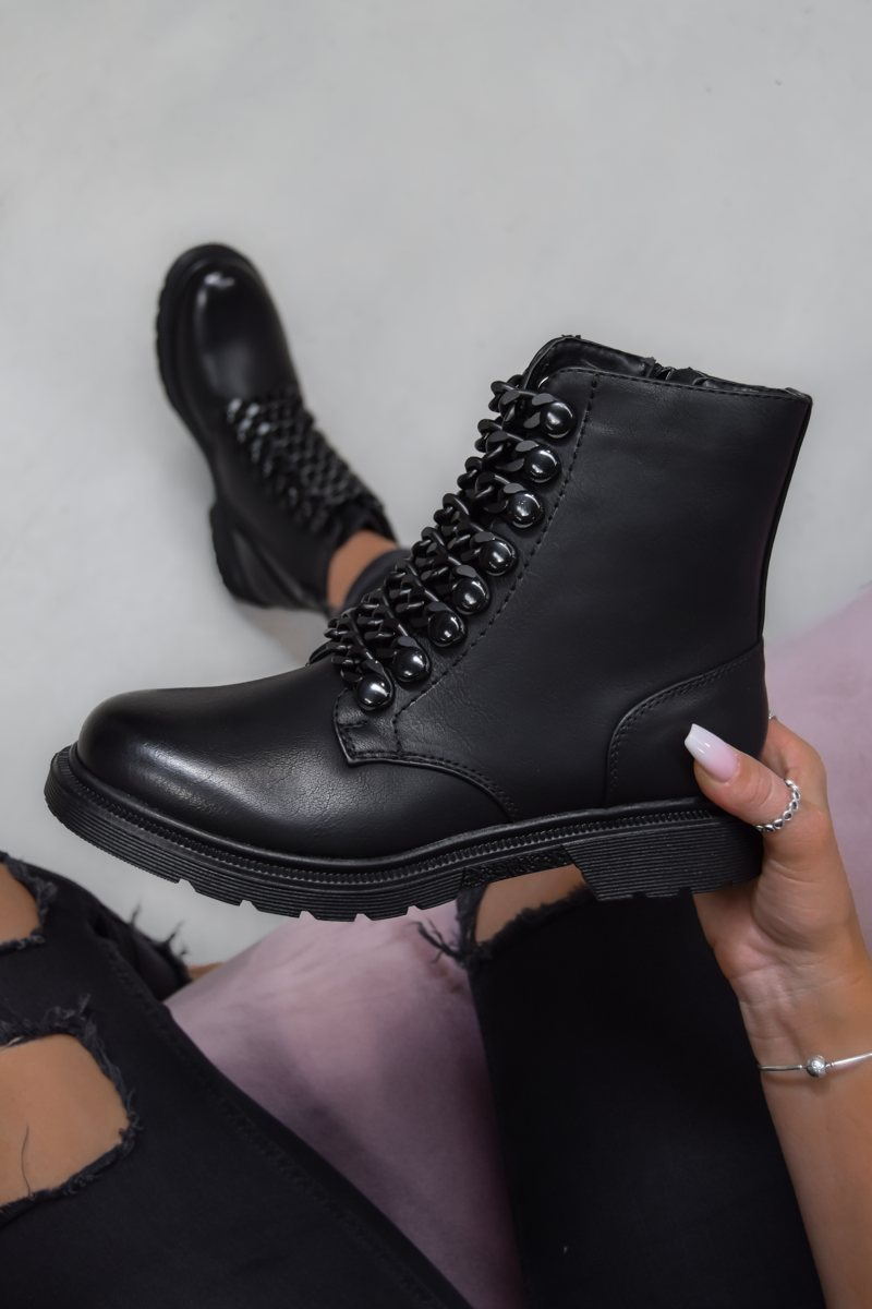 SHOW ME Chain Ankle Boots - Black PU