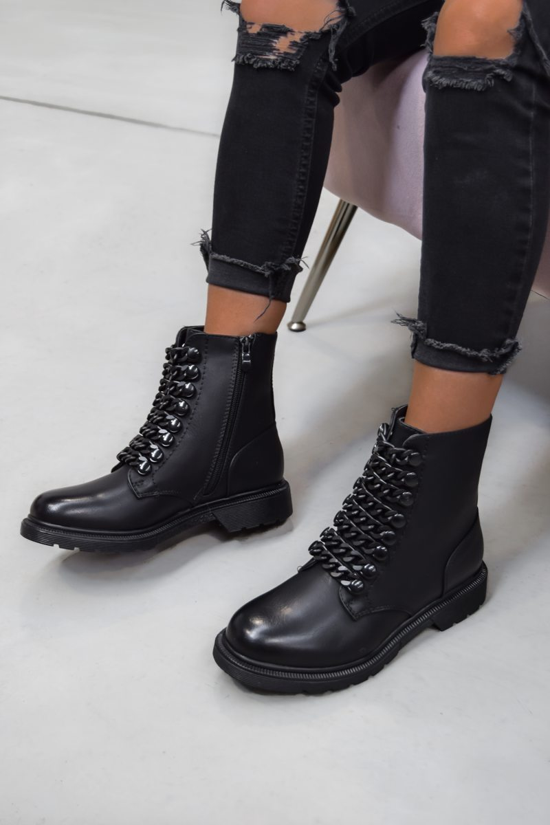 SHOW ME Chain Ankle Boots - Black PU - 2