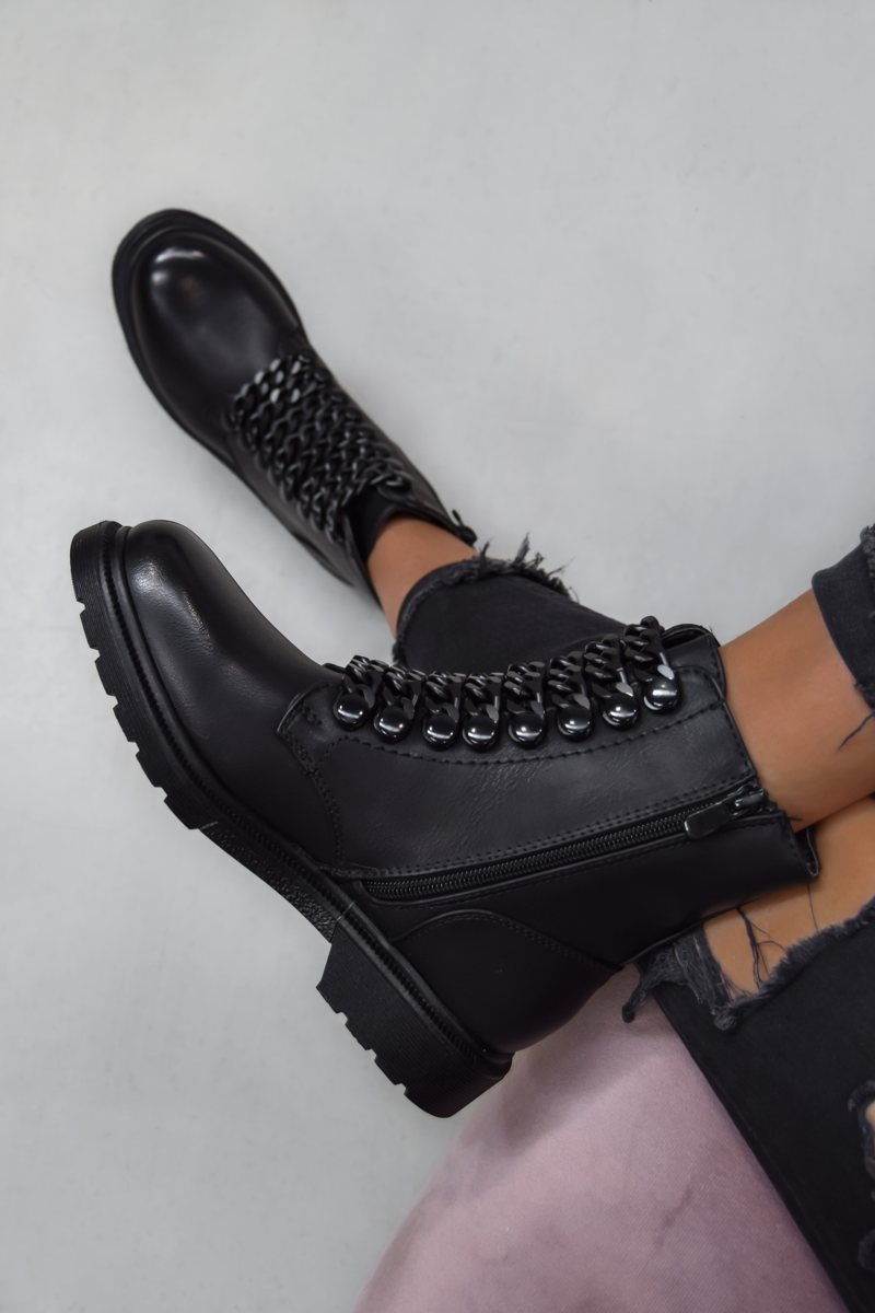 SHOW ME Chain Ankle Boots - Black PU - 1