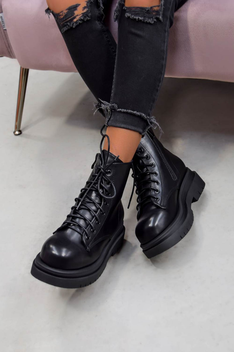 SHOW OFF Chunky Lace Up Platform Ankle Boots - Black PU - 2