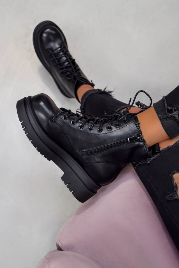 SHOW OFF Chunky Lace Up Platform Ankle Boots - Black PU - 1