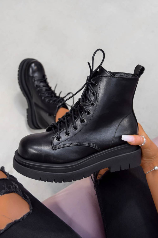 SHOW OFF Chunky Lace Up Platform Ankle Boots - Black PU