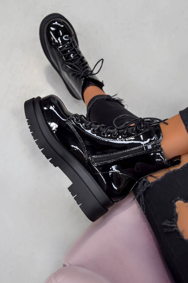 SHOW OFF Chunky Lace Up Platform Ankle Boots - Black Patent - 1