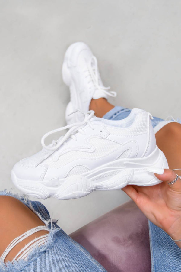 SHOW UP Chunky Bubble Sole Trainers - White