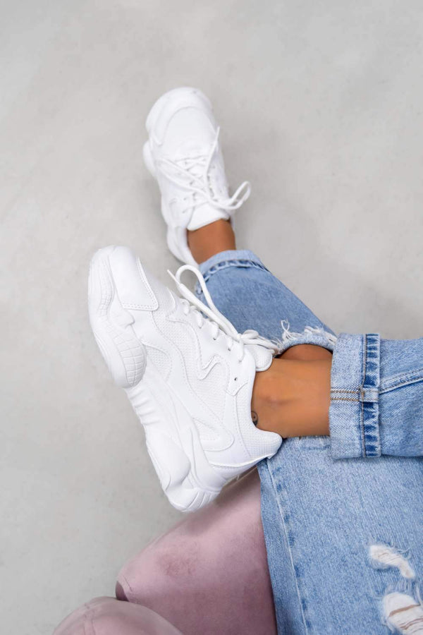 SHOW UP Chunky Bubble Sole Trainers - White - 1