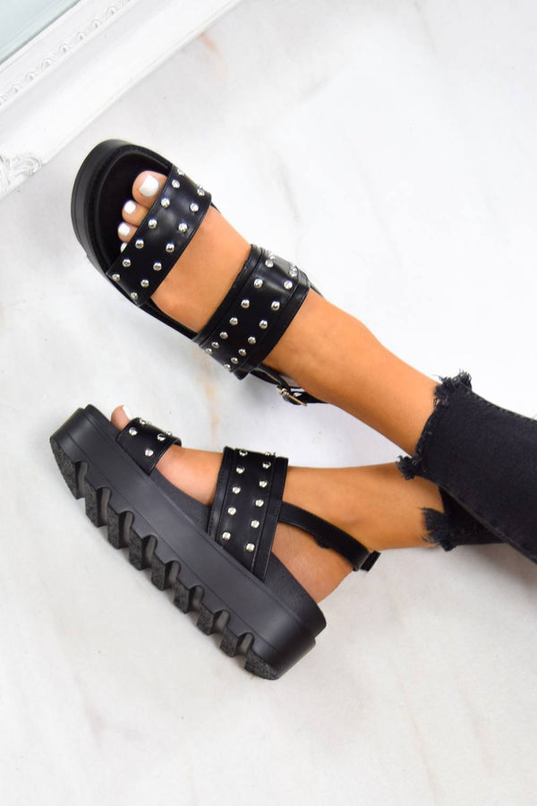 SHOW ME Chunky Cleated Platform Studded Sandals - Black - 1