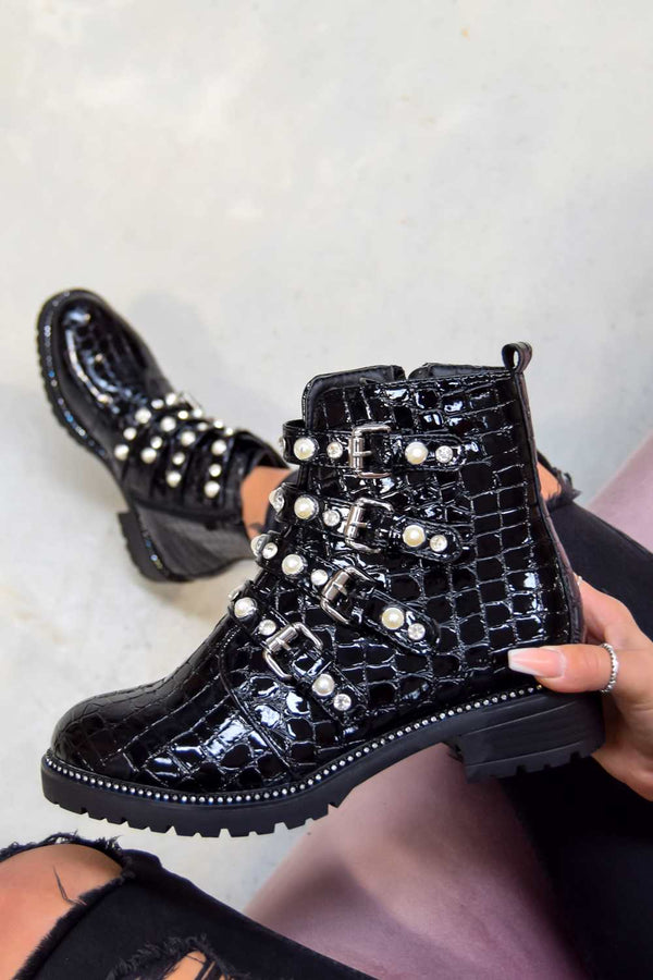 SHOW YOU Jewel Buckle Ankle Boots - Black Croc