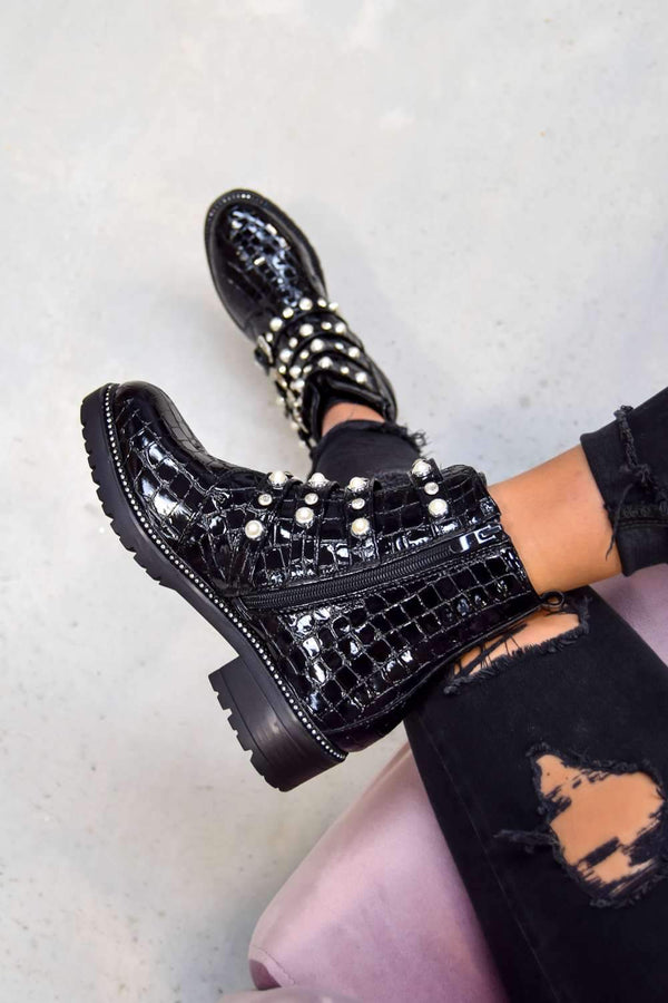 SHOW YOU Jewel Buckle Ankle Boots - Black Croc - 1