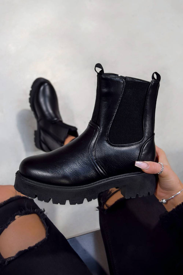 SIRENA Ankle Chelsea Boots - Black PU