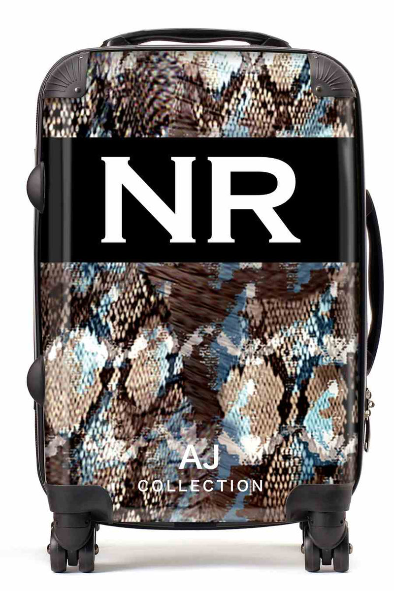 Personalised Initial Suitcase - Dark Snake Print - Small Cabin Luggage