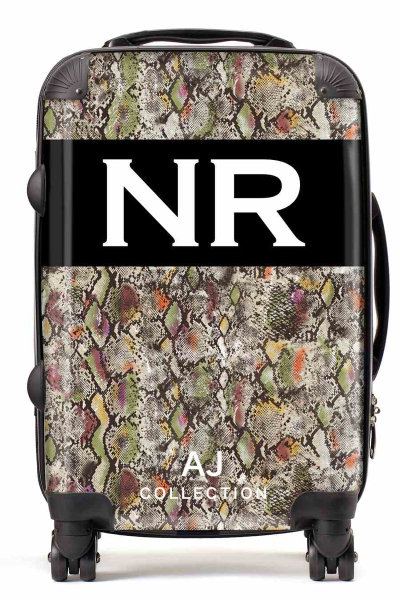 Personalised Initial Suitcase - Light Snake Print - Small Cabin Luggage