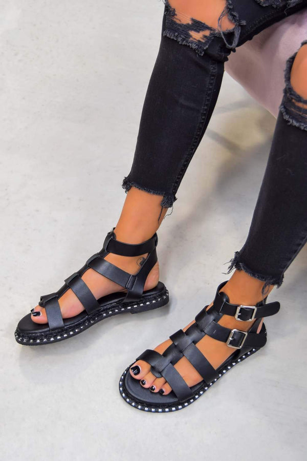 SOFIA Buckle Gladiator Sandals - Black