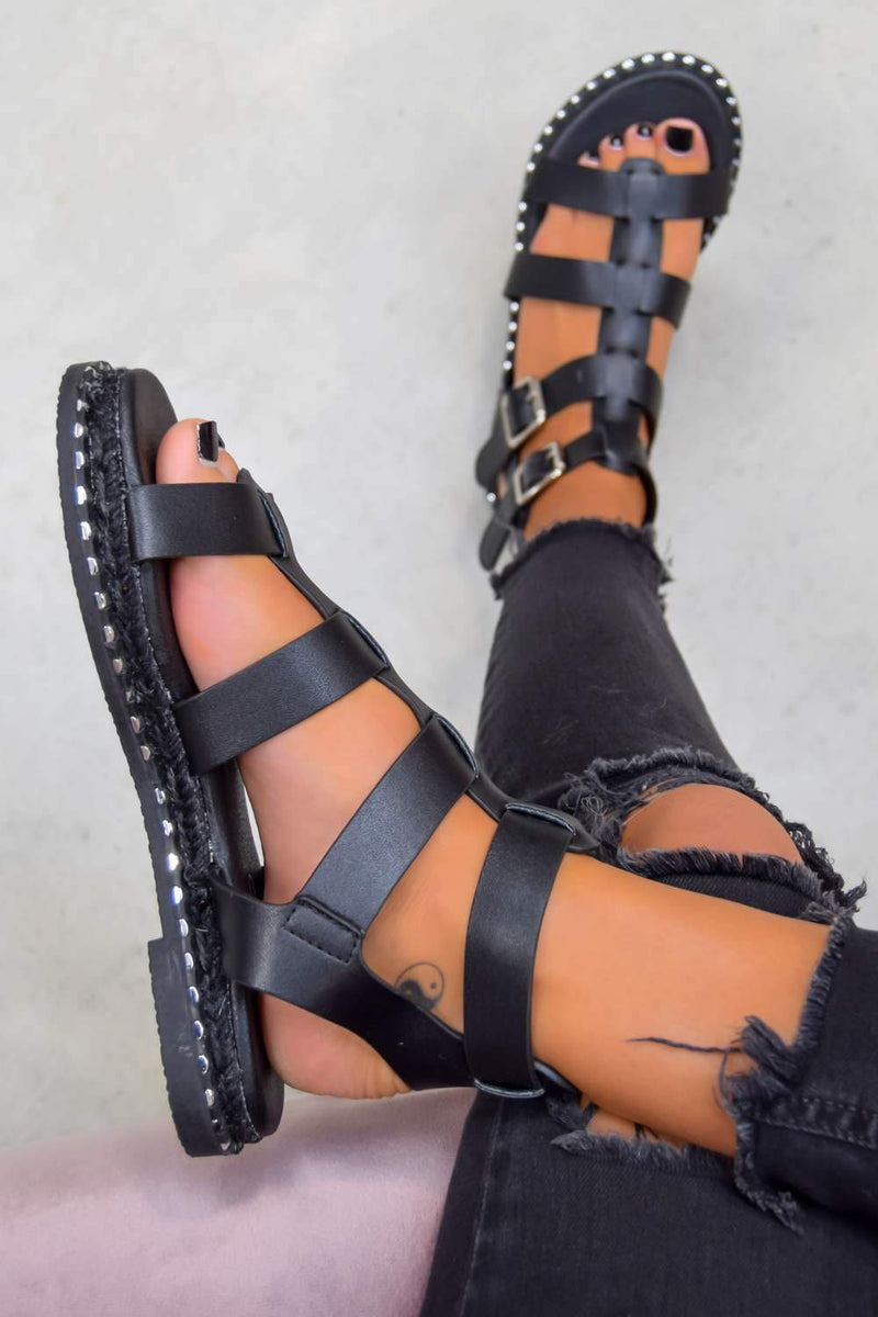 SOFIA Buckle Gladiator Sandals - Black - 2