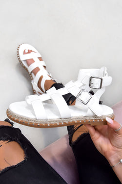 SOFIA Buckle Gladiator Sandals - White