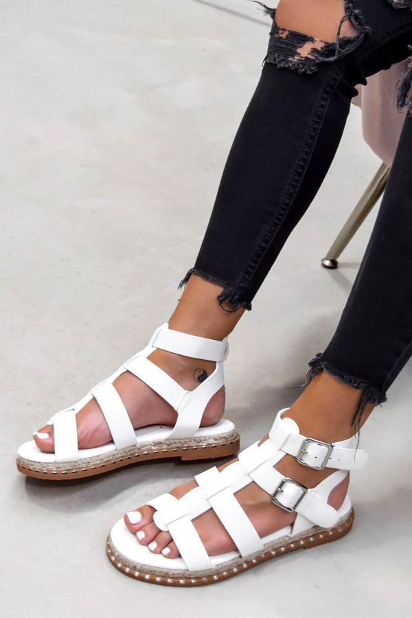 SOFIA Buckle Gladiator Sandals - White - 1
