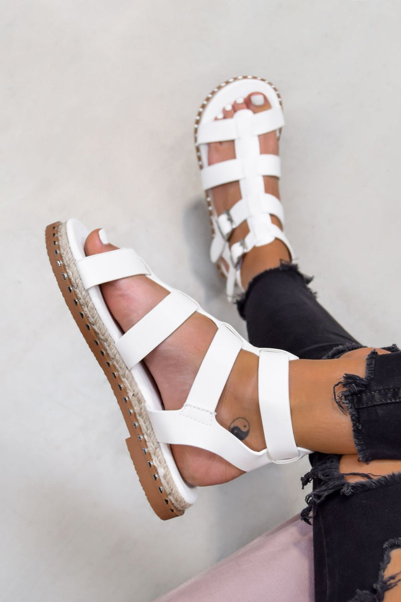 SOFIA Buckle Gladiator Sandals - White - 2