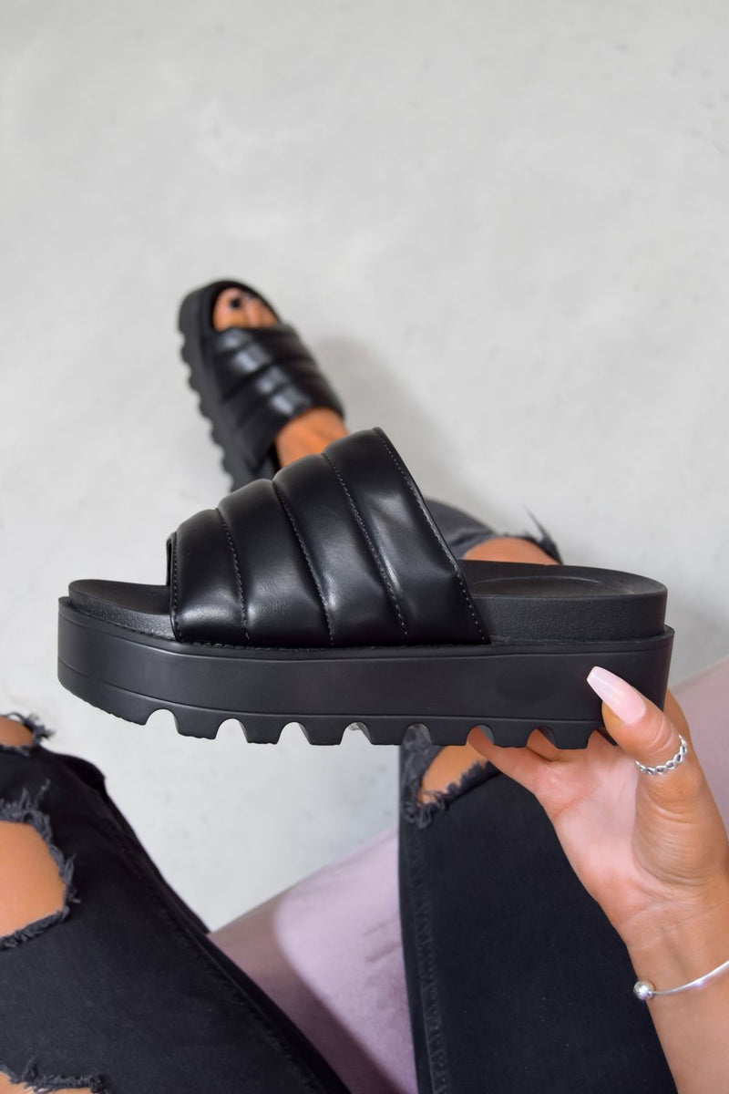 SO WHAT Chunky Platform Sliders - BlackFur
