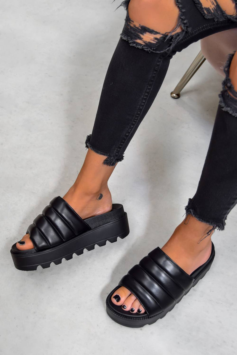 SO WHAT Chunky Platform Sliders - Black - 1