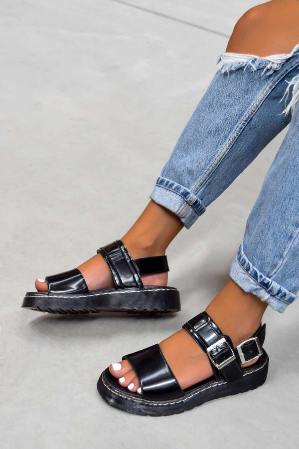 STAND BY Chunky Buckle Sandals - Black - 1
