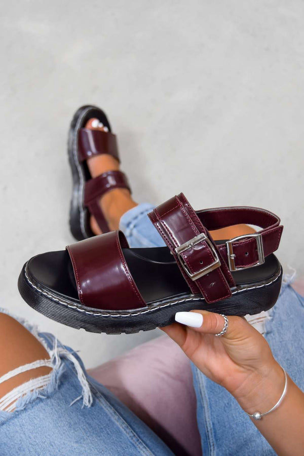 STAND BY Chunky Buckle Sandals - Wine