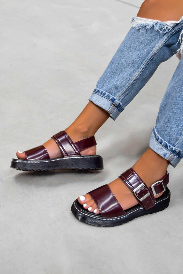 STAND BY Chunky Buckle Sandals - Wine - 2