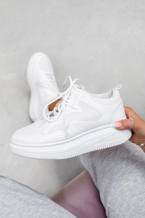 STAND UP Chunky Faux Leather Trainers - White