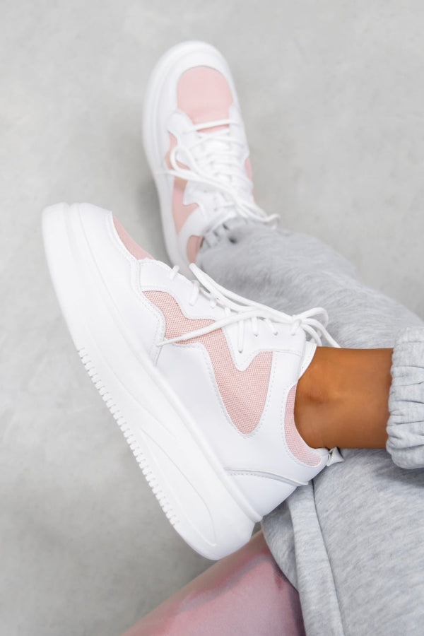 STAND UP Chunky Faux Leather Trainers - White/Pink - 1