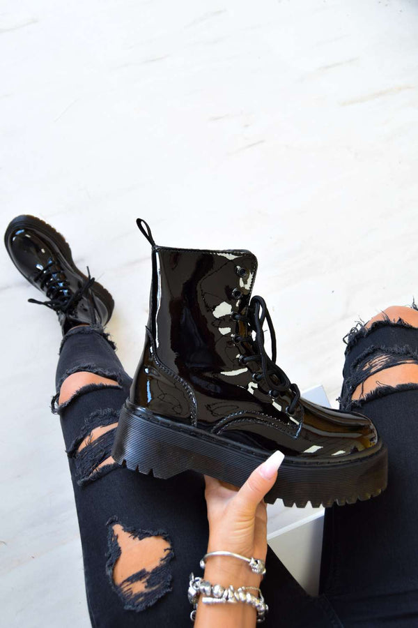 STAND BY Chunky Platform Lace Up Ankle Boots - Black PU - 1