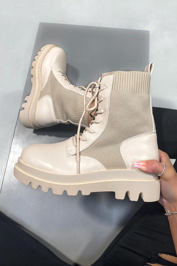 STAY TRUE Chunky Ankle Boots - Beige