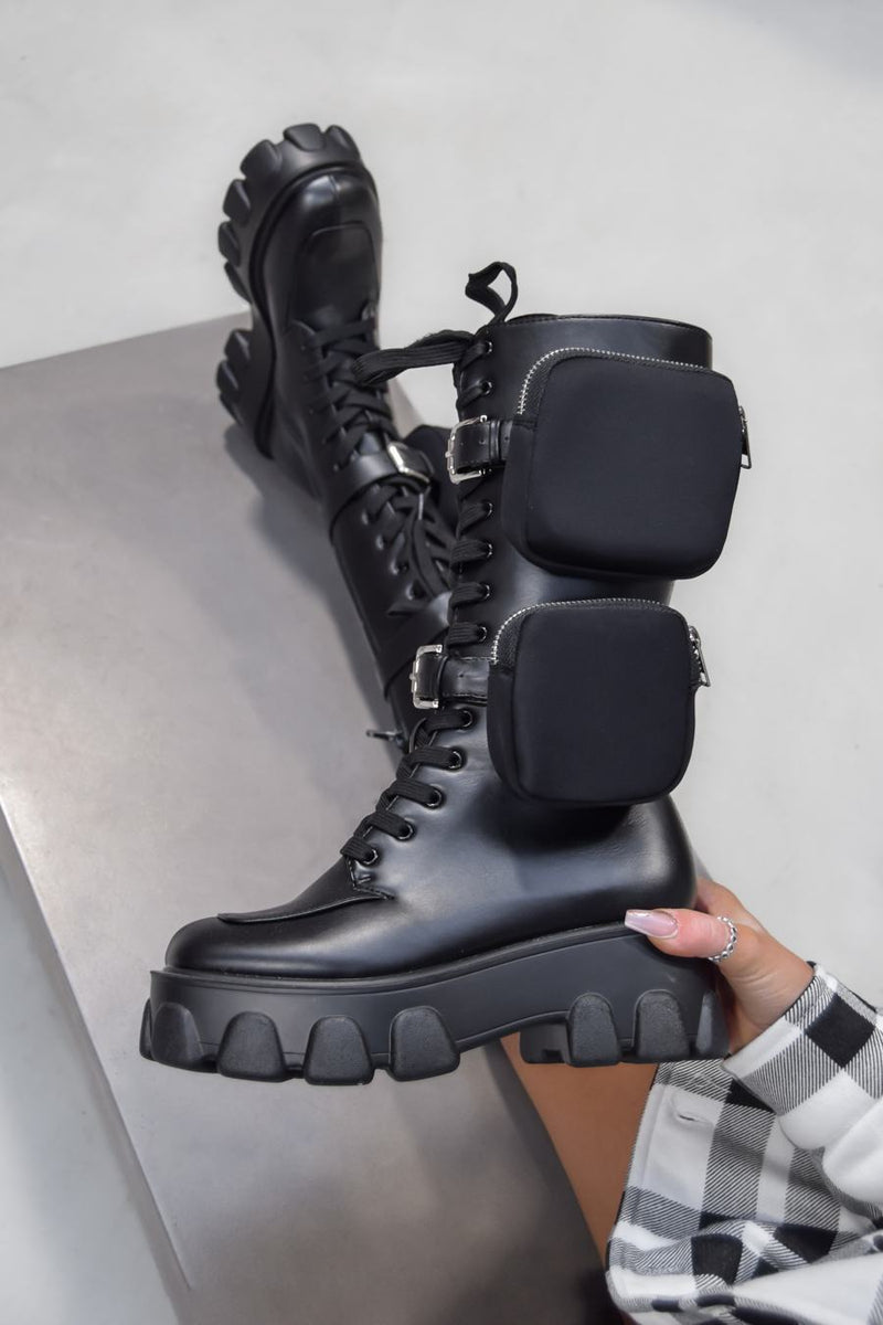 STEP UP Lace up Pocket Chunky Mid Boots - Black PU