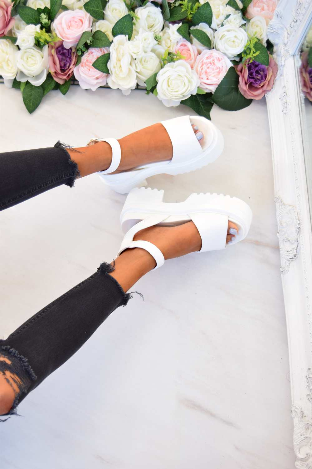 STEP IT Chunky Platform Sandals - White - 4