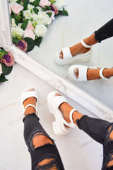STEP IT Chunky Platform Sandals - White - 3