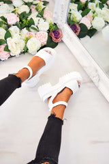 STEP IT Chunky Platform Sandals - White - 2
