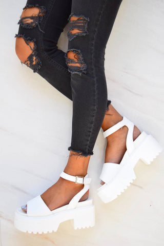 STEP IT Chunky Platform Sandals - White