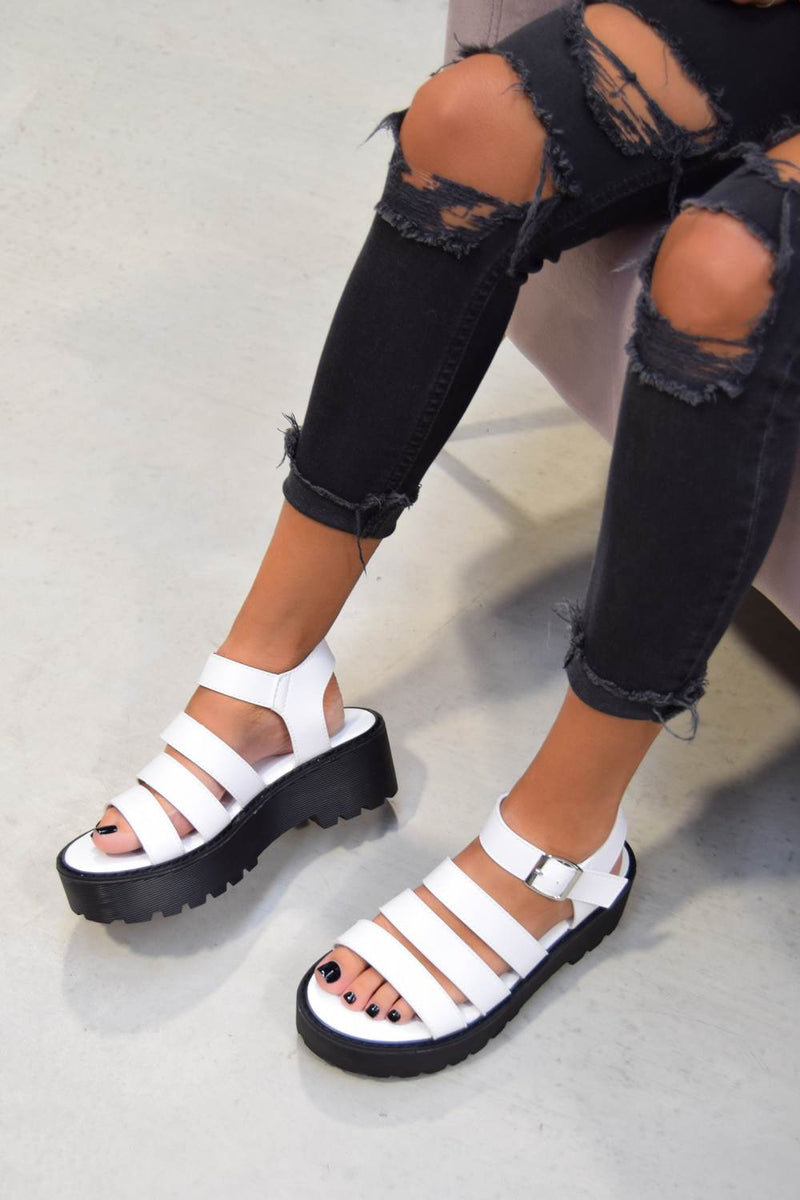 STEP OUT Chunky Platform Gladiator Sandals - White PU - 1