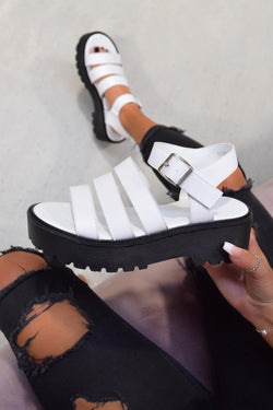 STEP OUT Chunky Platform Gladiator Sandals - White PU
