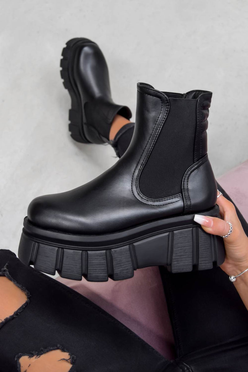 STORM Super Chunky Platform Ankle Boots - Black PU