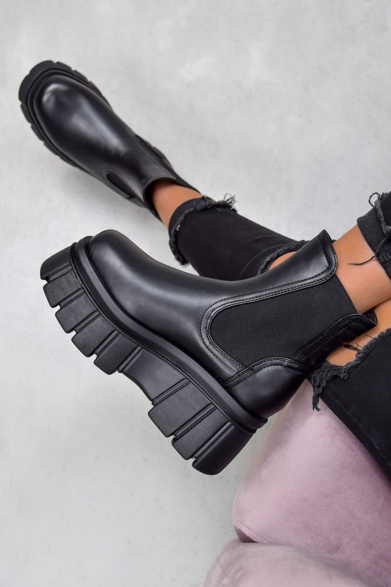STORM Super Chunky Platform Ankle Boots - Black PU - 1