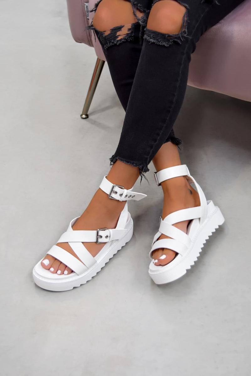 STRIKE IT Chunky Buckle Gladiator Sandals - White - 1