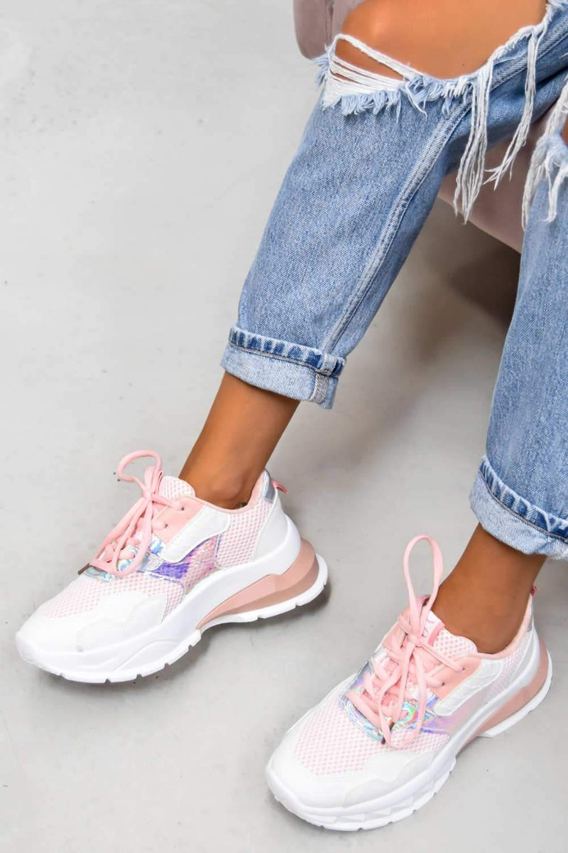 SWITCH UP Chunky Mesh Panelled Trainers - Pink - 2