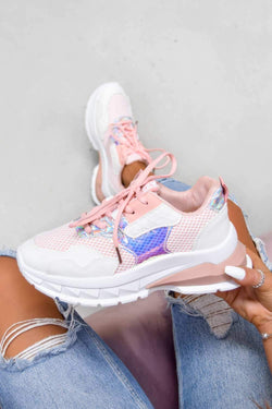 SWITCH UP Chunky Mesh Panelled Trainers - Pink