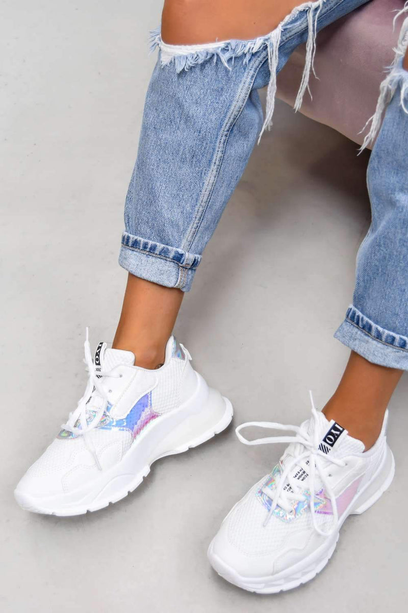 SWITCH UP Chunky Mesh Panelled Trainers - White - 1