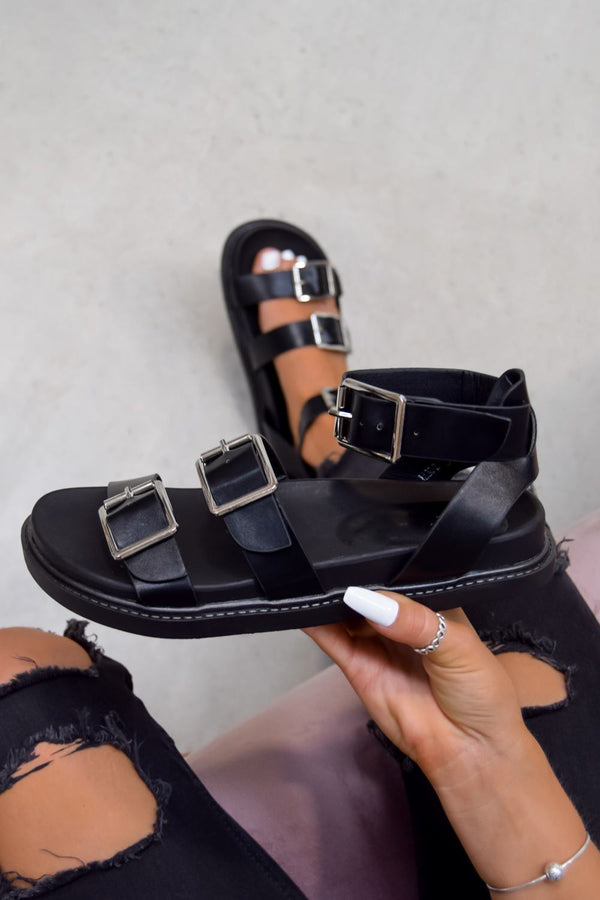 SYSTEM Gladiator Buckle Sandals - Black